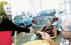 Professional women car salesman